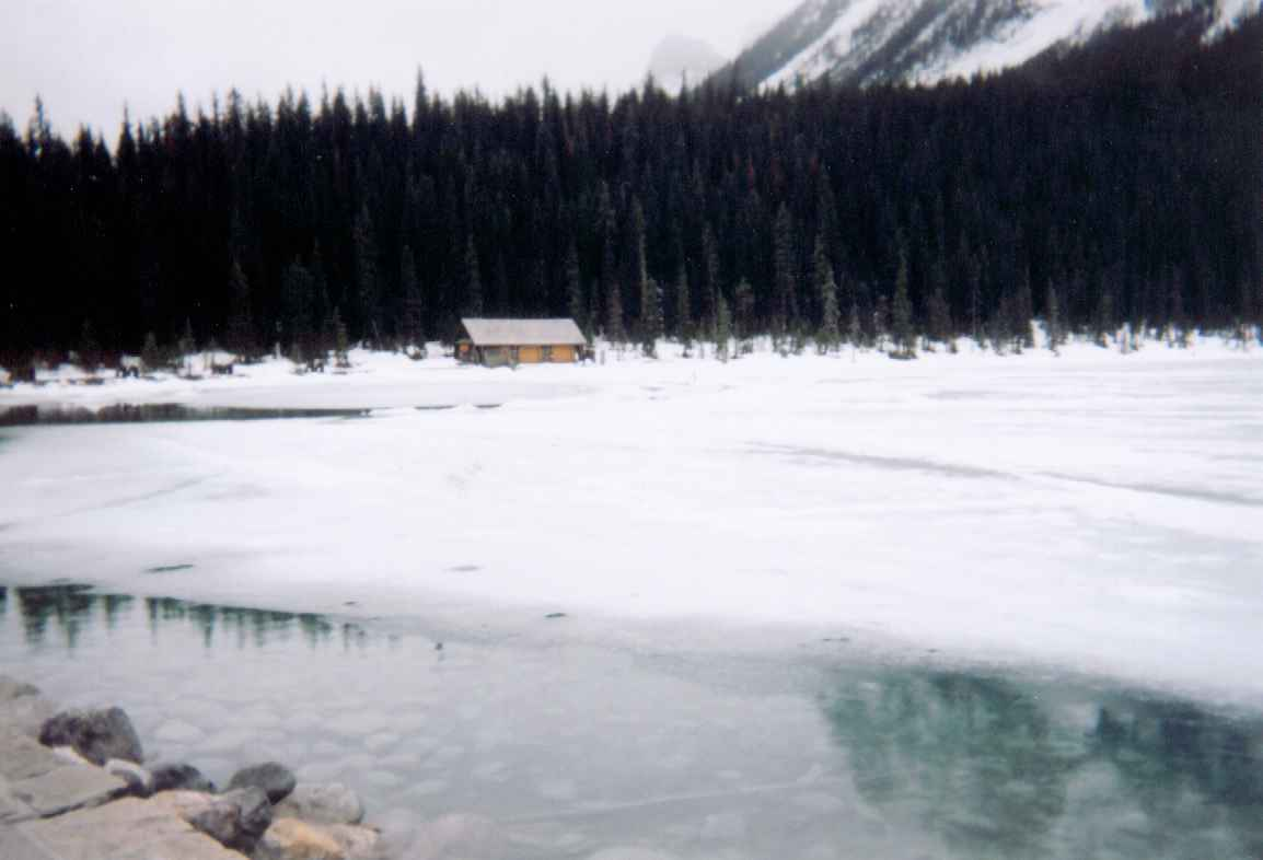 Partially frozen Lake Louise